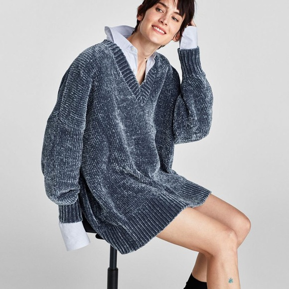 31ac0b73f6a Zara Oversized Chenille Sweater Dress